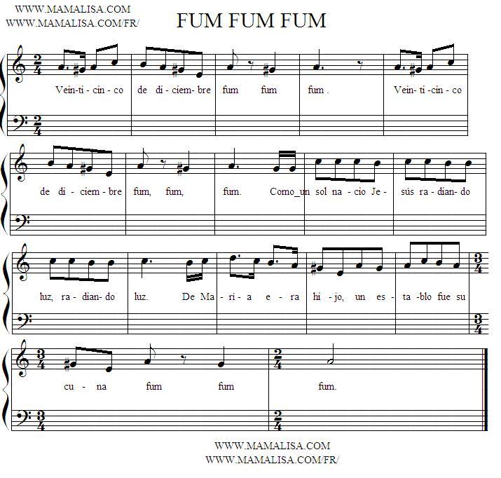 Sheet Music - Fum, fum, fum (Versión 2)