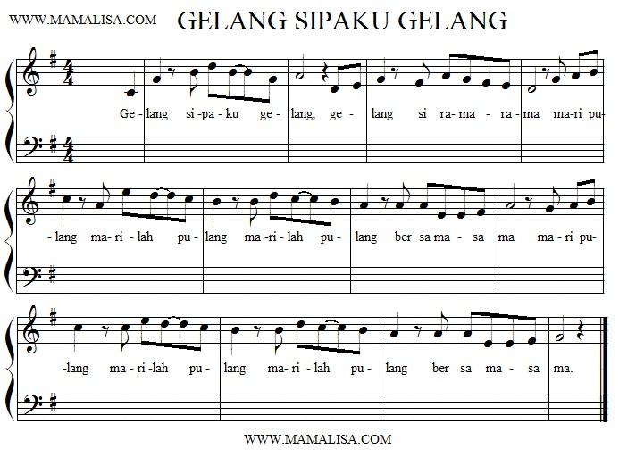 Sheet Music - Gelang sipaku gelang