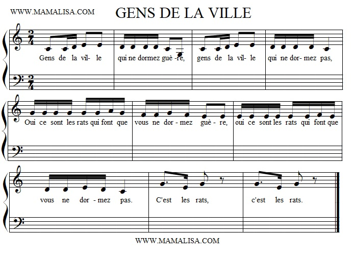 Sheet Music - Gens de la ville