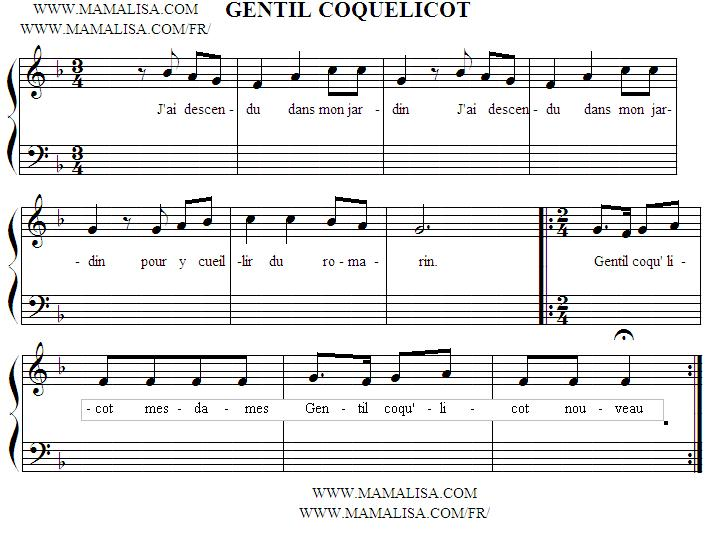 Sheet Music - Gentil coquelicot