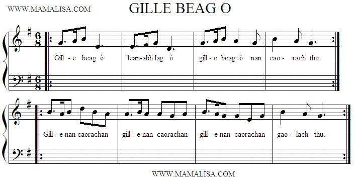 Sheet Music - Gille Beag Ò