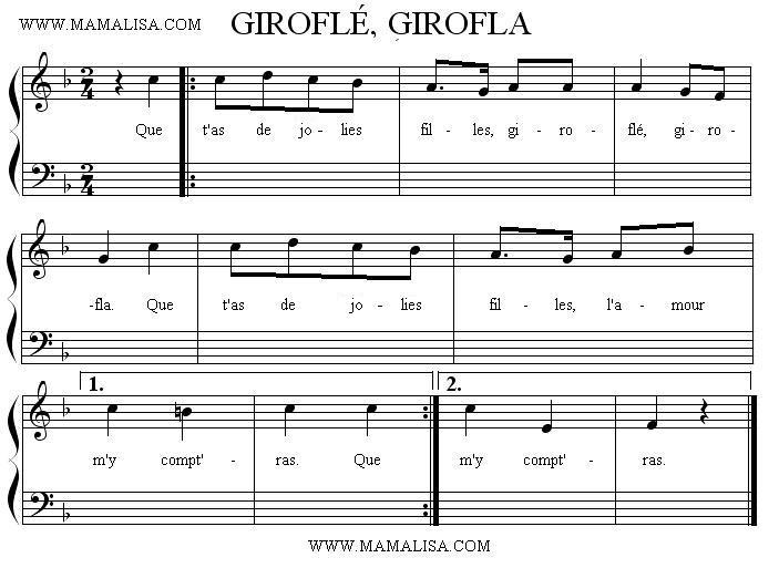 Partition musicale - Giroflé, girofla