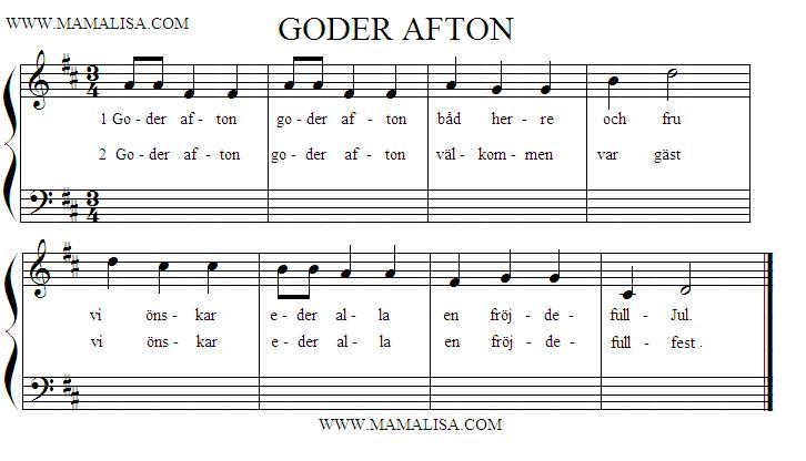 Sheet Music - Goder afton