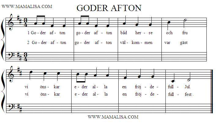 Sheet Music - Goder afton