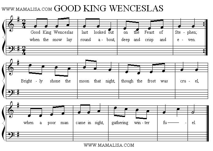 Sheet Music - Good King Wenceslas