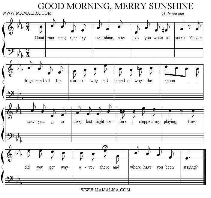 Good Morning Sunshine Lyric : Good morning merry sunshine american children s songs