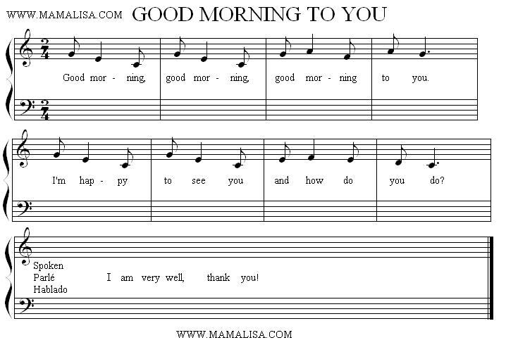 Sheet Music - Good Morning