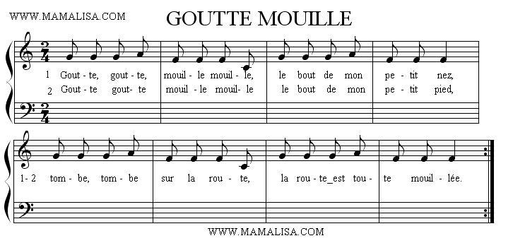 Partition musicale - Goutte, goutte, mouille, mouille