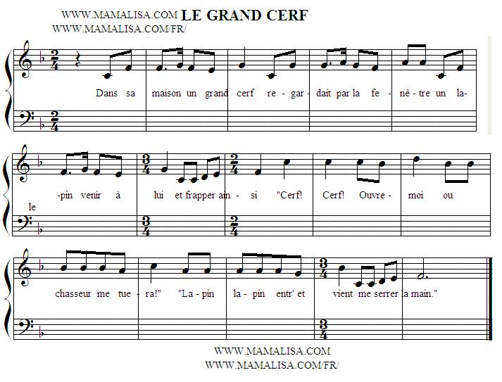 Partition musicale - Le grand cerf