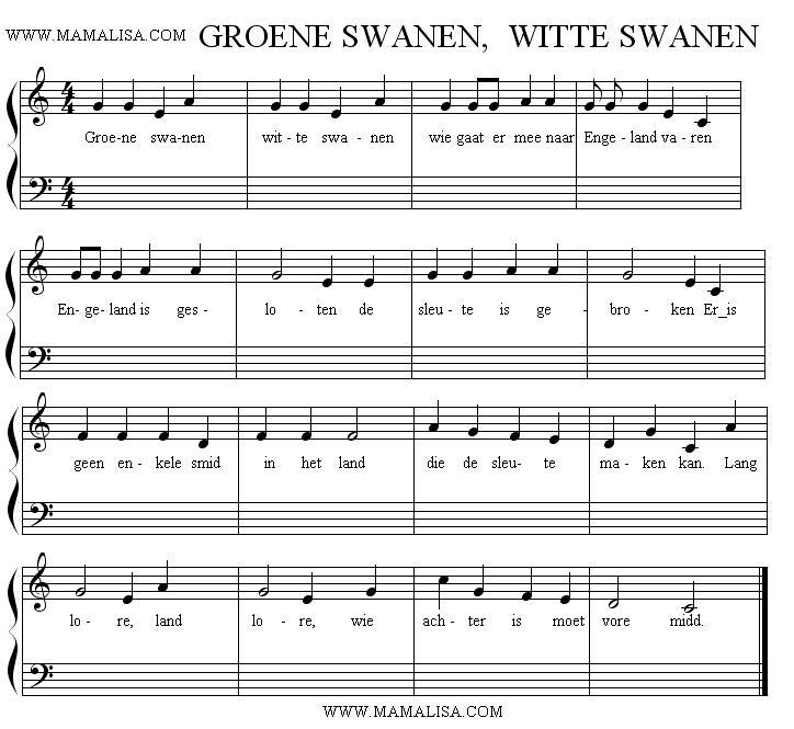Partition musicale - Groene zwanen, witte zwanen