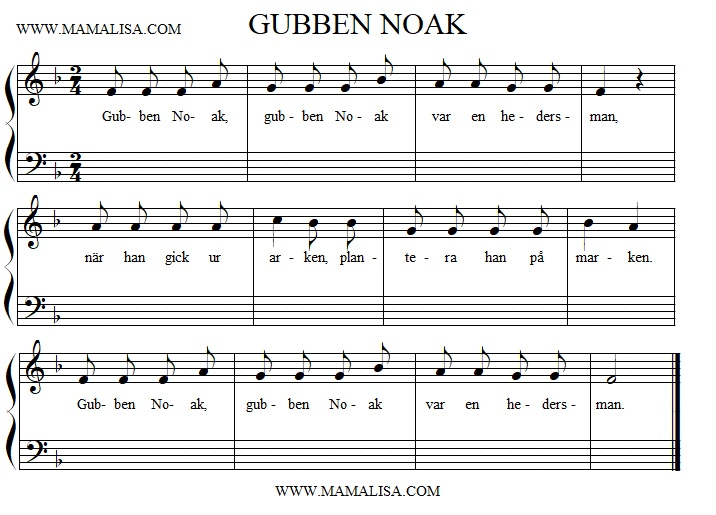 Sheet Music - Gubben Noak