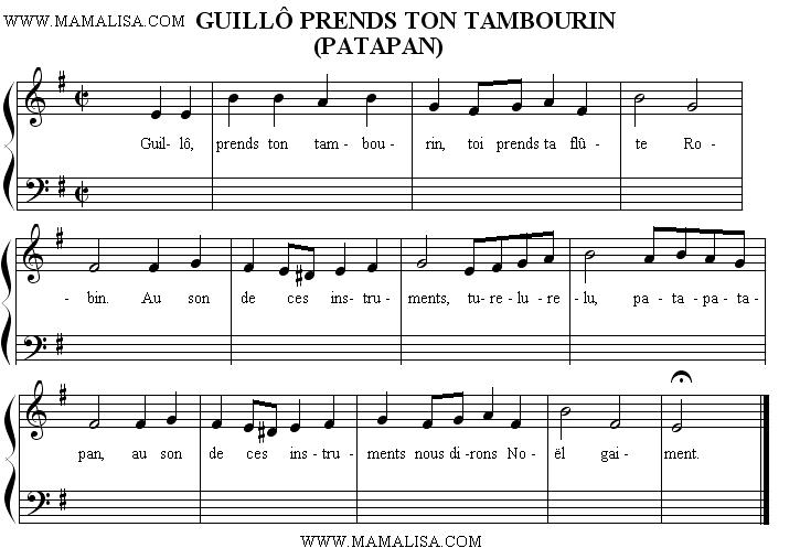 Partition musicale - Guillô prends ton tambourin (Patapan)