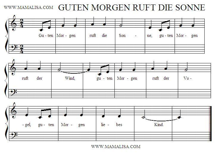 Guten Morgen Ruft Die Sonne German Childrens Songs