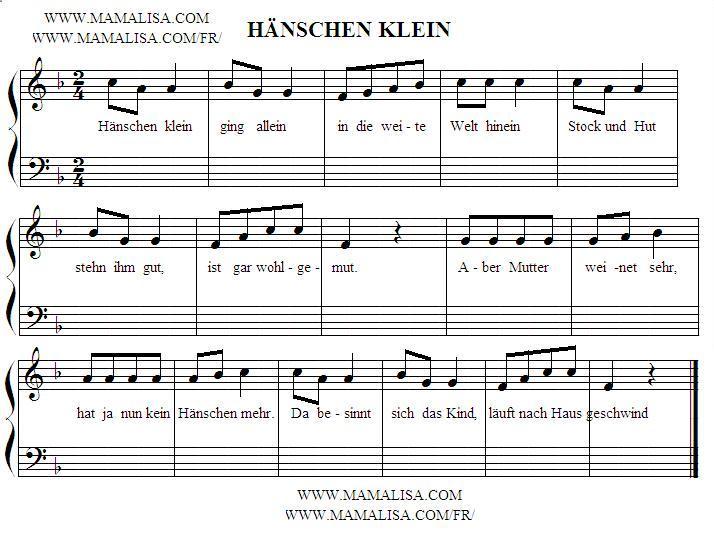 Partition musicale - Hänschen klein