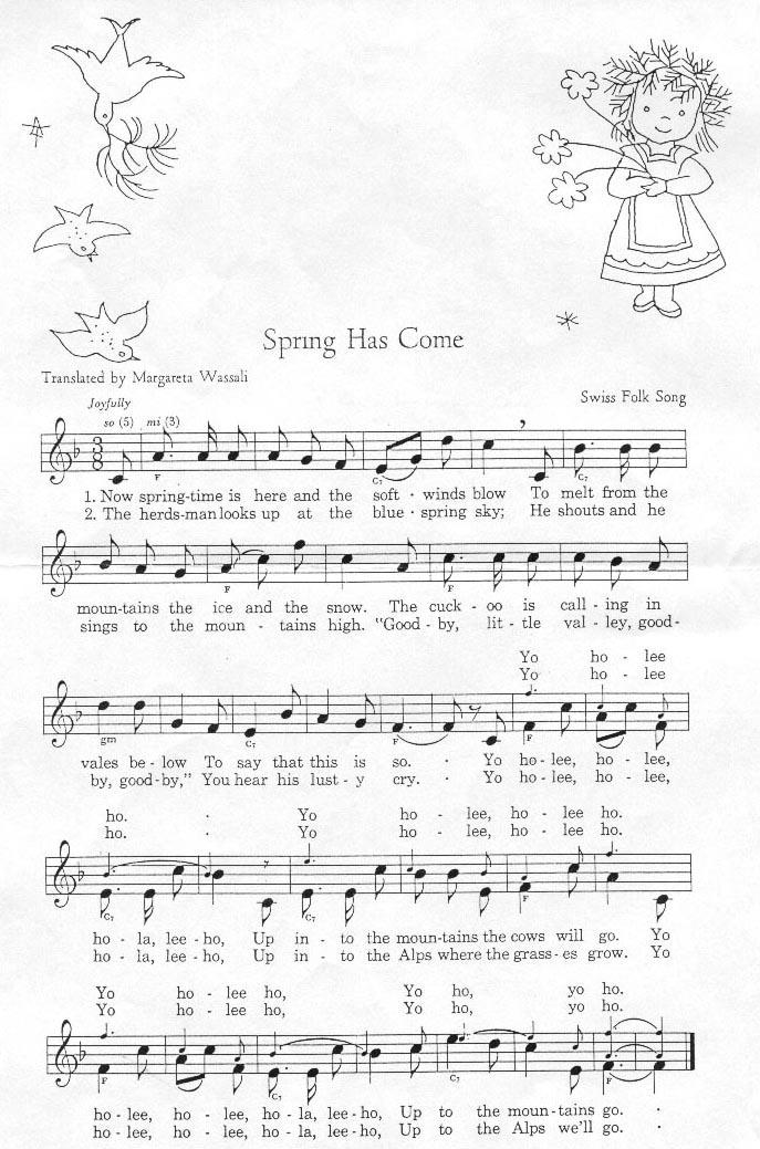 Partition musicale - De Frühlig isch au scho uf d'Berge cho