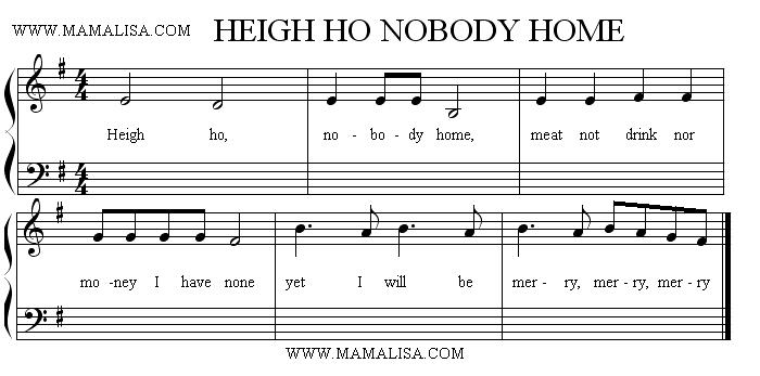 Partitura - Heigh-ho! Nobody Home