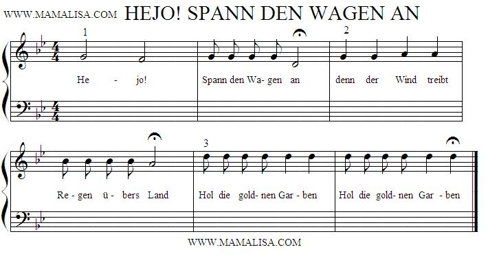 Sheet Music - Hejo, spann den Wagen an