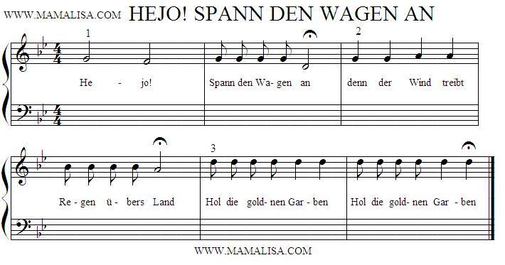 Partition musicale - Hejo, spann den Wagen an