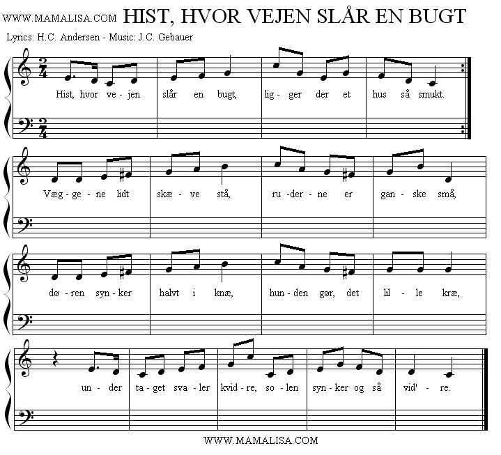 Sheet Music - Hist, hvor vejen slår en bugt