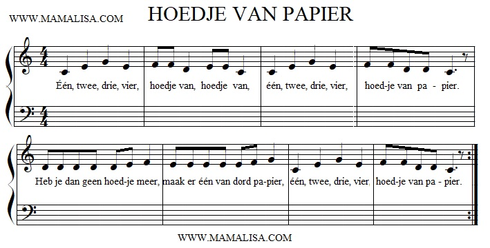 Sheet Music - Hoedje van papier