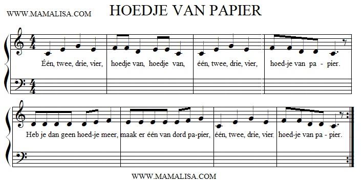 Partition musicale - Hoedje van papier