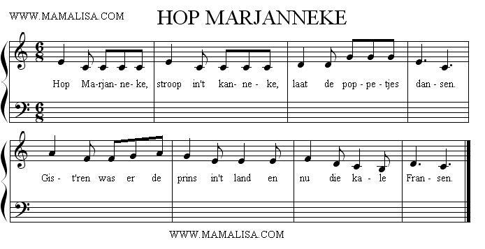 Sheet Music - Hop Marjanneke