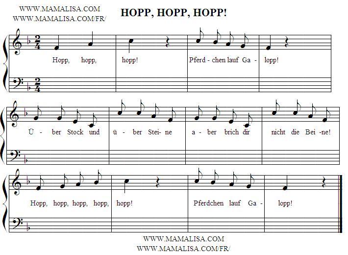 Partition musicale - Hopp, hopp, hopp