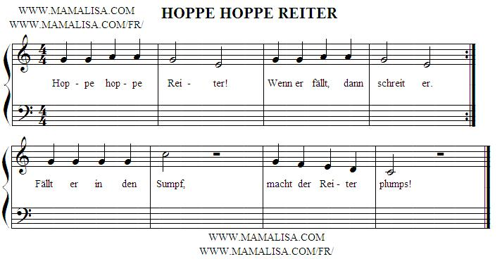 Partition musicale - Hoppe, hoppe, Reiter