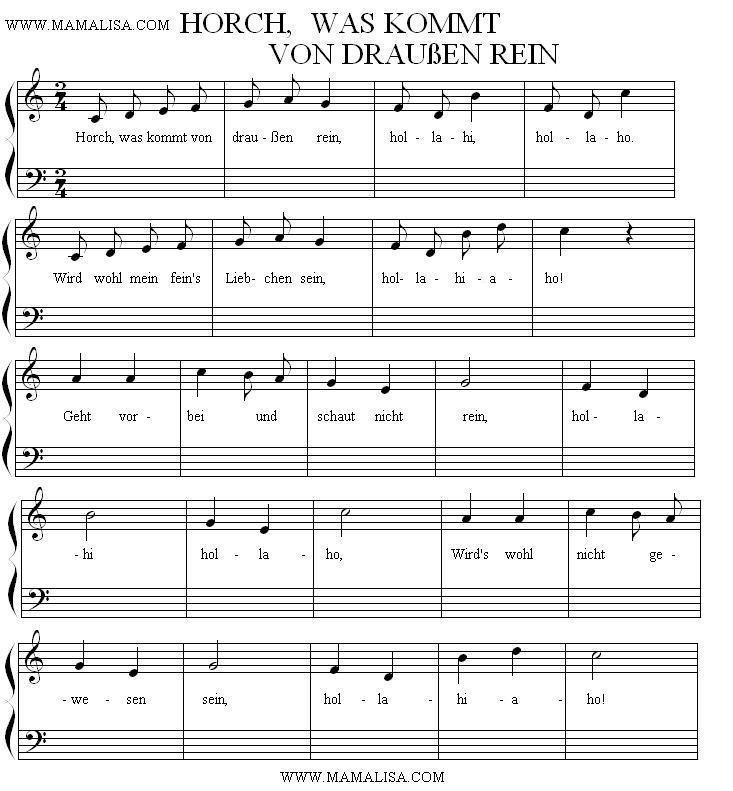 Sheet Music - Horch, was kommt von draußen rein