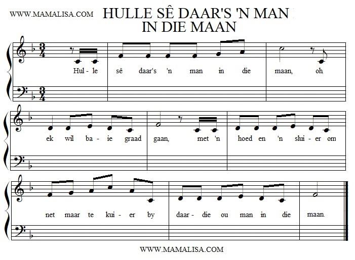 Sheet Music - Hulle sê daar's 'n man in die maan