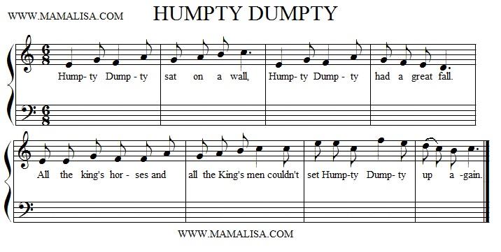 Sheet Music - Humpty Dumpty