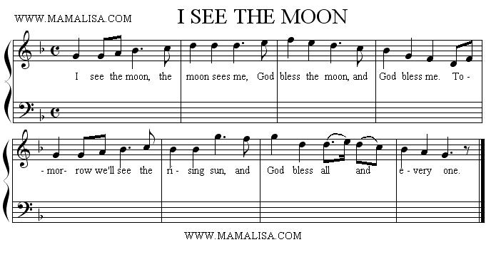 Sheet Music - I See the Moon and the Moon Sees Me