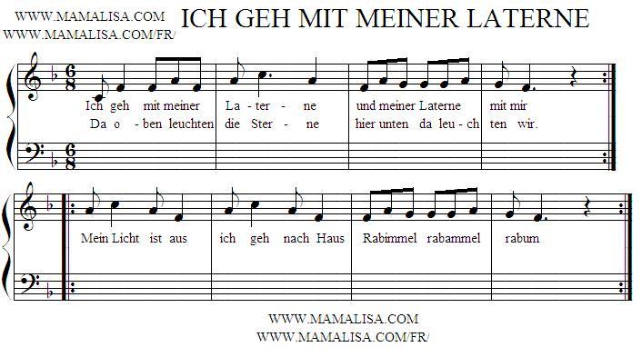 Sheet Music - Ich geh mit meiner Laterne