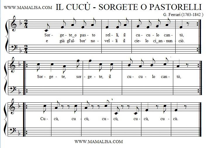 Partition musicale - Il cucù  - (Sorgete o pastorelli)