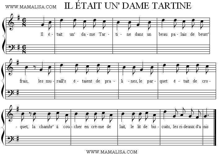 Sheet Music - Il était un' dame Tartine