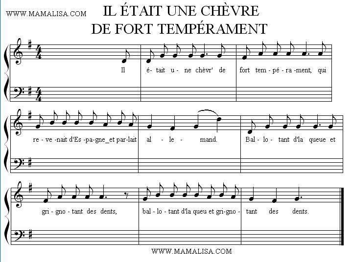 Partition musicale - Il était une chèvre de fort tempérament