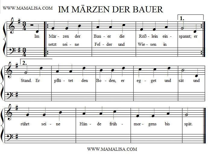 Partition musicale - Im Märzen der Bauer