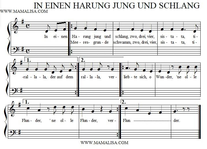 Sheet Music - In einen Harung jung und schlang