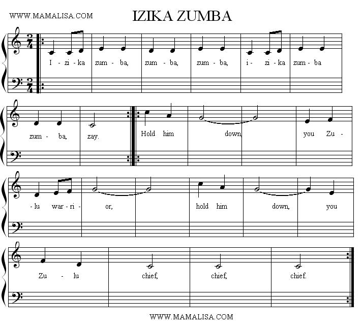 Sheet Music - Izika Zumba