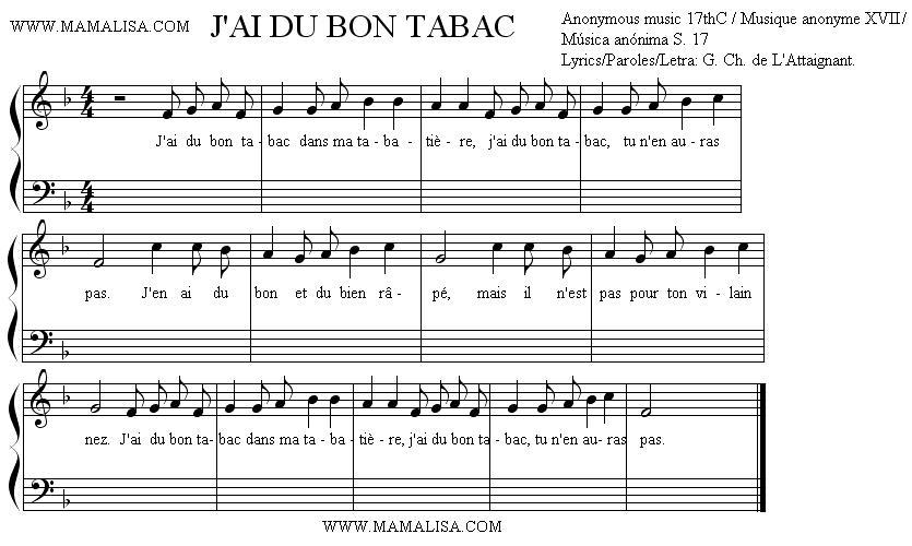 Sheet Music of J'ai du bon tabac - Chansons enfantines françaises - France - Mama Lisa's World en français: Comptines et chansons pour les enfants du monde entier
