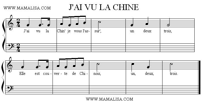 Partition musicale - J'ai vu la Chine