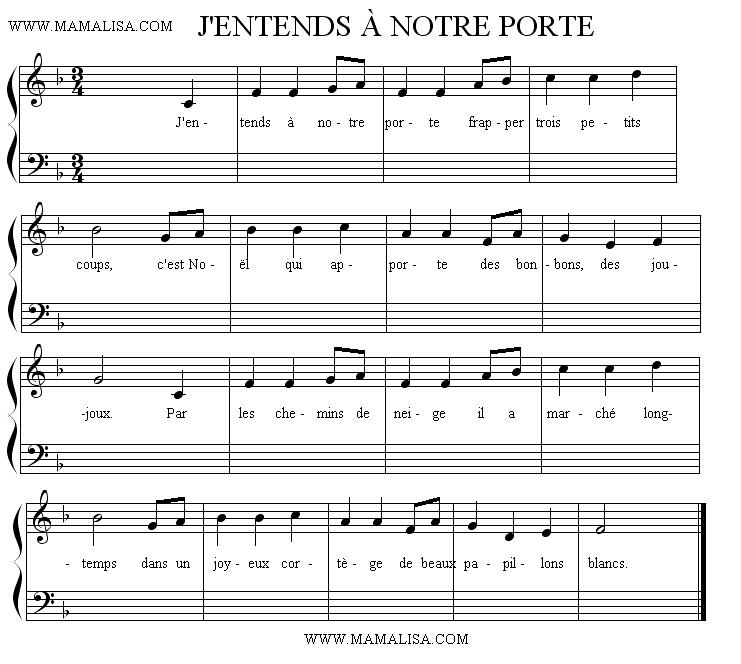 Sheet Music - J'entends à notre porte