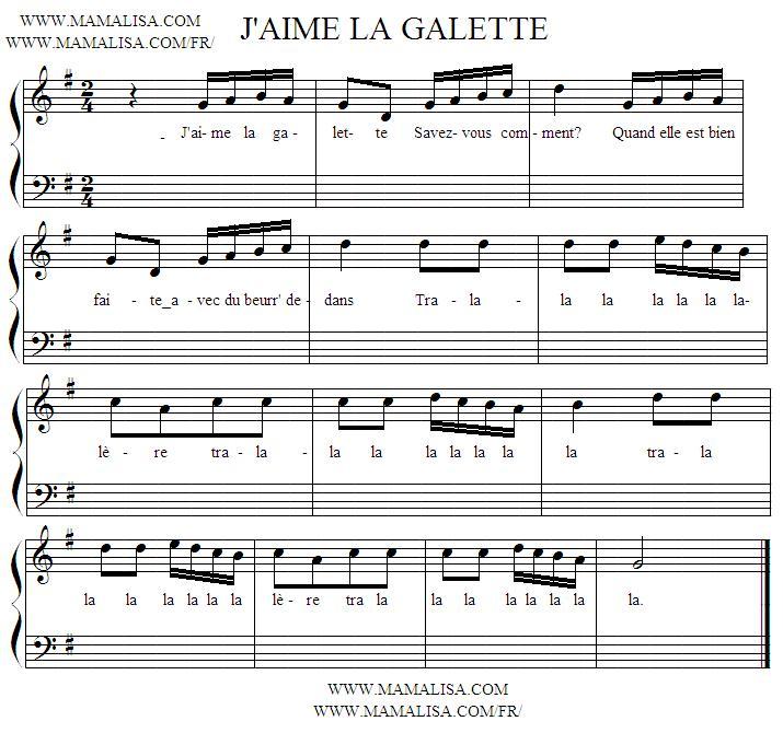 Sheet Music - J'aime la galette