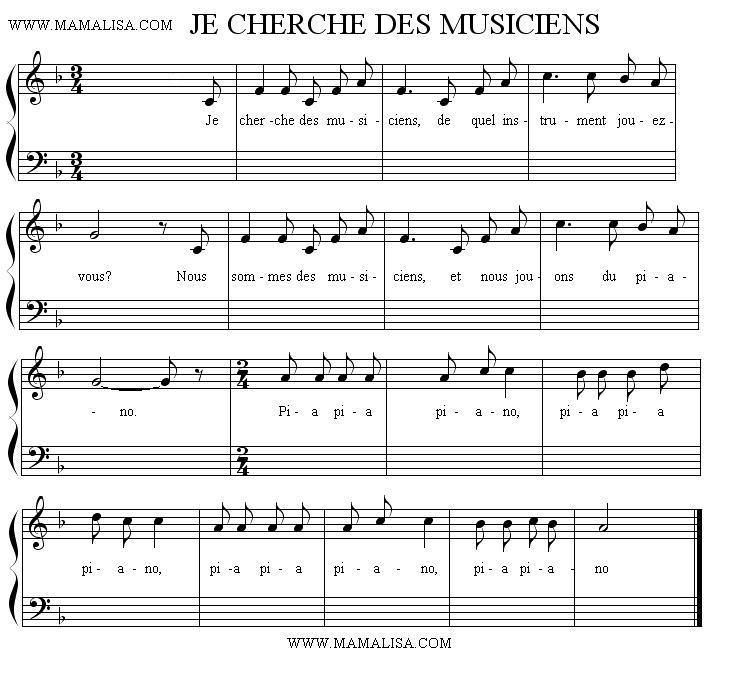 Partition musicale - Je cherche des musiciens