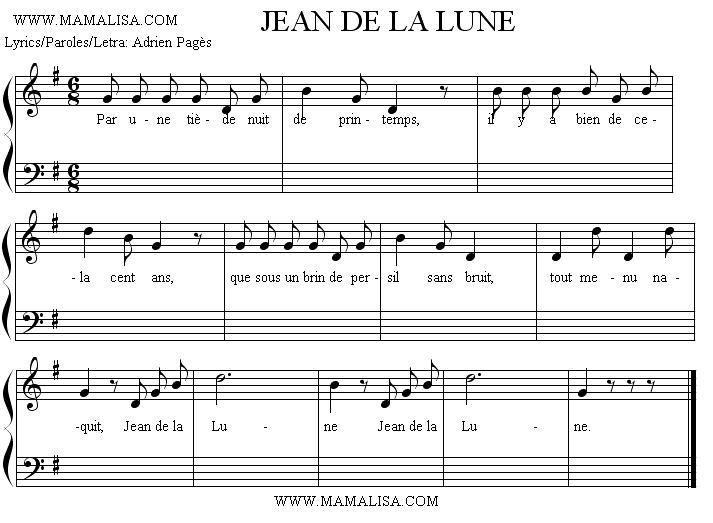 Sheet Music of Jean de la Lune - Chansons enfantines françaises - France - Mama Lisa's World en français: Comptines et chansons pour les enfants du monde entier