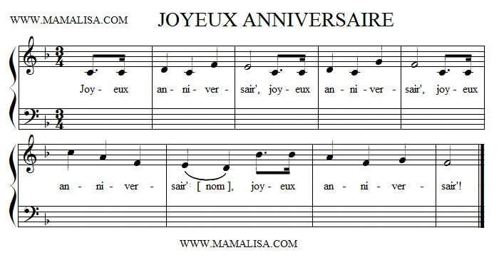 Sheet Music - Joyeux anniversaire