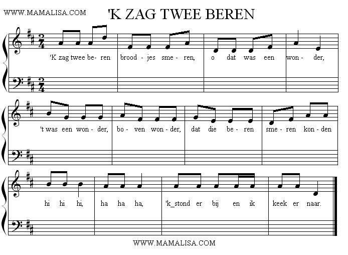 Sheet Music - 'K Zag Twee Beren Broodjes Smeren