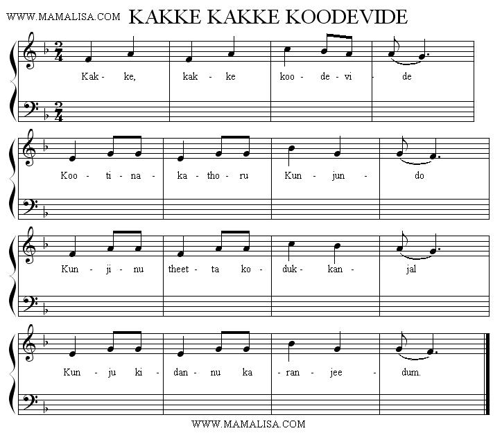 Sheet Music - Kakke kakke koodevide