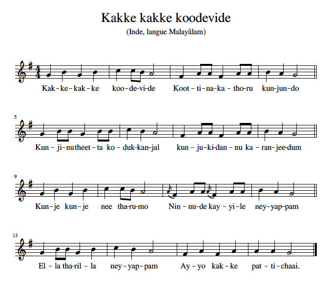 Sheet Music - Kakke kakke koodevide