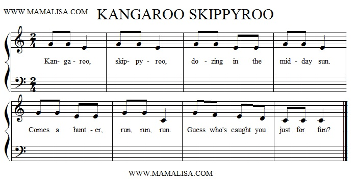 Sheet Music - Kangaroo, Skippy-roo
